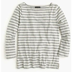 J. Crew Grey Striped Long Sleeve Top